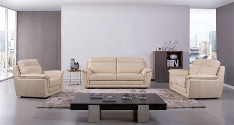 Three Sofa Set by Genuine Italian Leather Beige Three Sofa Set