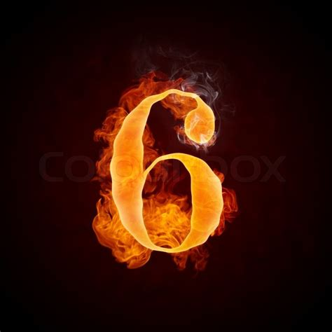 Fire Number 6 Isolated On Black Background  Stock Photo