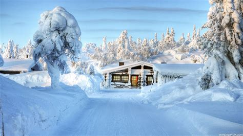 Snow House Full Hd Wallpaper  2560 X 1440