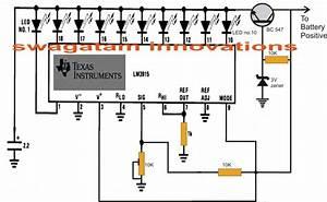 10 Led Battery Level Indicator Circuit