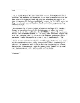 loud  complaint letter