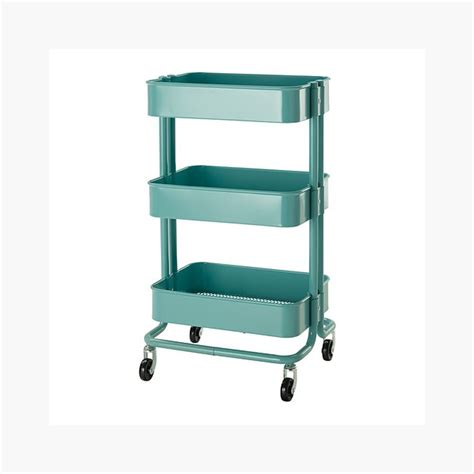 ikea shelves black raskog home kitchen bedroom storage utility cart turquoise