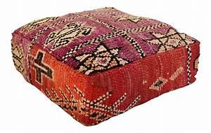 Custom Tailored Moroccan Boujad Kilim Rug Floor Pouf