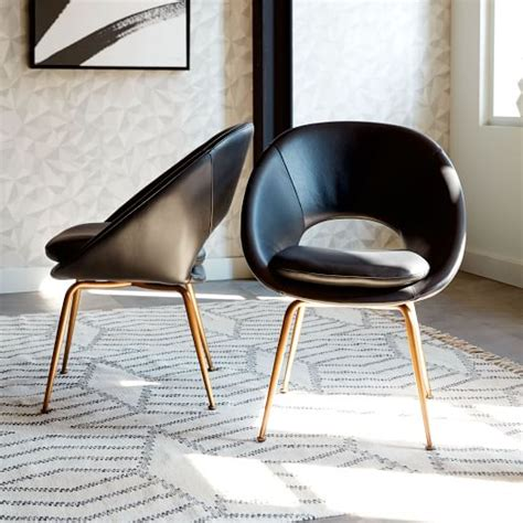 orb leather dining chair black antique brass west elm