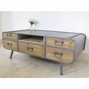 Table Basse Retro : table basse de style r tro et industriel avec tiroirs ~ Teatrodelosmanantiales.com Idées de Décoration