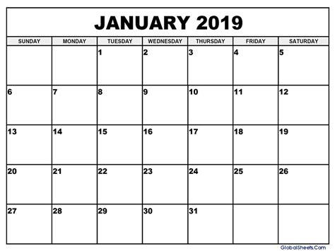 Calendar Template 2019 January 2019 Calendar Template Printable Letter Template