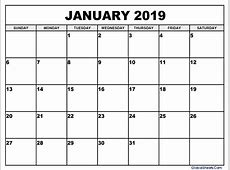 January 2019 Calendar Images Calendar Template Printable
