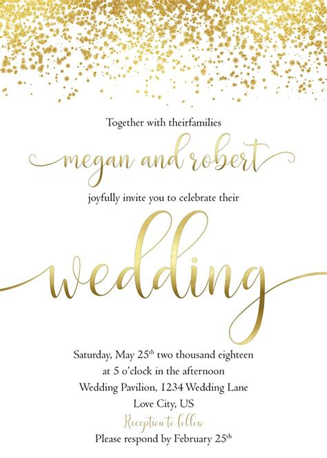 gold wedding invitation white  gold wedding invite set