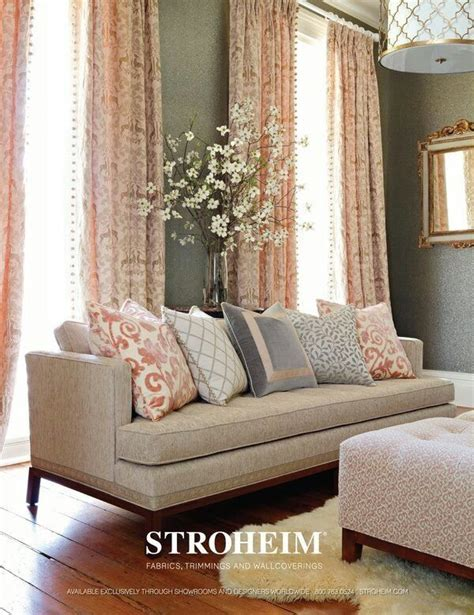 living room decor with pink curtains against grey