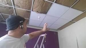 Installer Faux Plafond : faux plafond suspendu la pose des dalle lot centrale youtube ~ Melissatoandfro.com Idées de Décoration