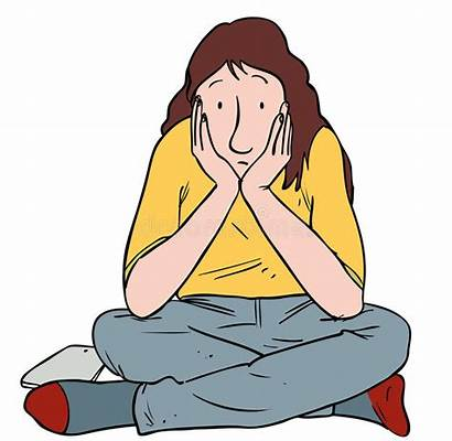 Bored Clipart Person Sitting Teen Teenager Illustration