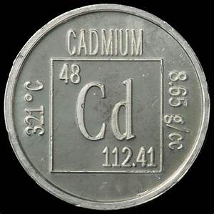 Element coin, a sample of the element Cadmium in the ...
