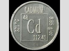 Element coin, a sample of the element Cadmium in the
