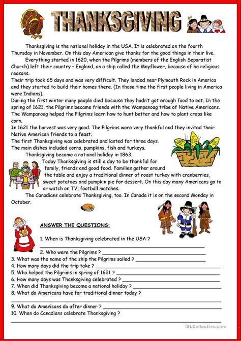 119 free esl thanksgiving worksheets