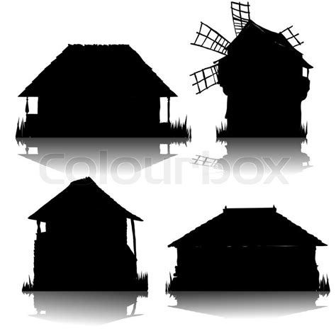 ecological country houses silhouettes collection stock