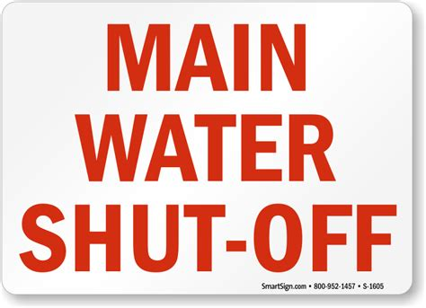 Main Water Shutoff Signs, Fire And Emergency Signs, Sku
