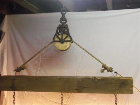 Beam Wood Light Fixture And Pulley Pendant Light