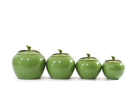 green canister sets kitchen green apple canister set aluminum mid century mid