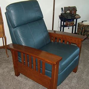 mission style blue leather recliner for sale the