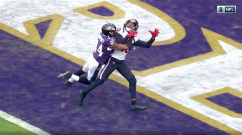 pass interference missed  officials  texans  ravens