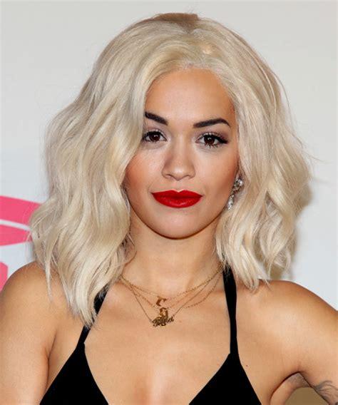Rita Ora Medium Wavy Casual Hairstyle   Light Blonde