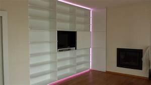 Bibliothèque Avec Porte : biblioth que sur mesure avec espace tv mt design ~ Teatrodelosmanantiales.com Idées de Décoration