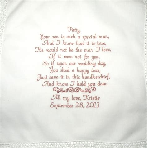 personalized hanky poem   mother  law   bride