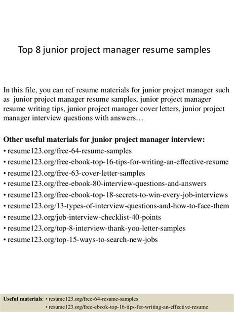 top 8 junior project manager resume sles