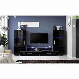 Meuble Tv Led Noir : ensemble meuble tv mural fly h de haute brillance avec led ~ Teatrodelosmanantiales.com Idées de Décoration