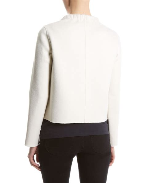 jaket cropped lyst jaeger faced cropped jacket in white