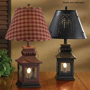 """Country Lantern Lamp in Red or Black 20"""" Tall by Park Designs"""