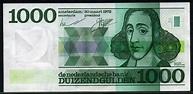 Netherlands banknotes 1000 Gulden note 1972 Baruch Spinoza ...