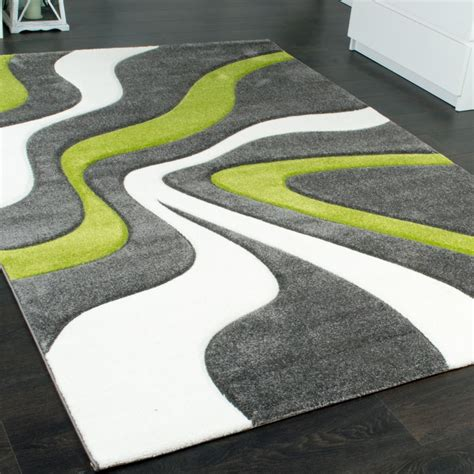 Designer Carpet With Contour Cut And A Wave Pattern In