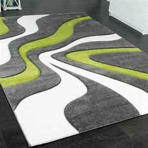 Teppich Grün Grau : designer teppich mit konturen schnitt modernes wellen muster in grau gr n creme wohn und ~ Markanthonyermac.com Haus und Dekorationen