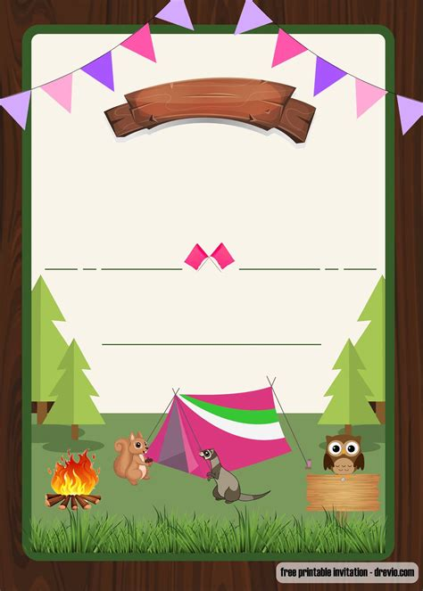 printable camping party invitation  girls template