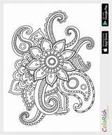 Coloring Pattern Paisley Simple Crochet Mehndi Colouring Patterns Mandala Zentangle Motif sketch template