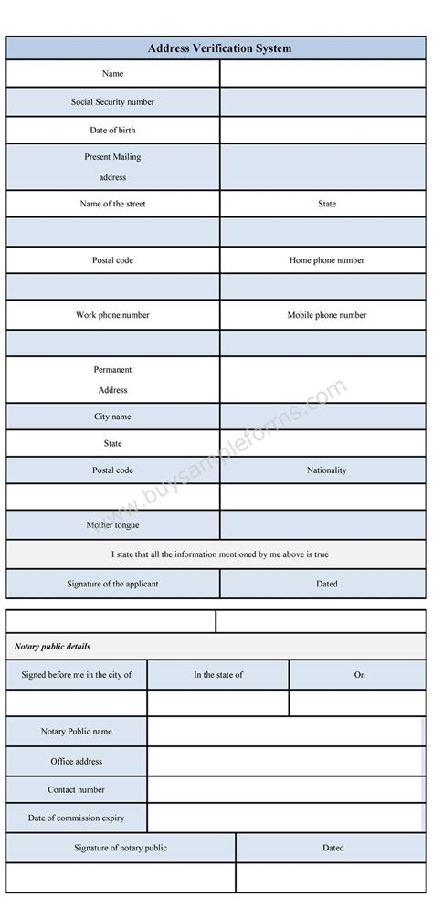 address verification form sample verification form template