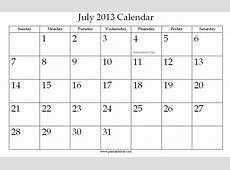 July 2013 Printable Calendar » Calendar Template 2018