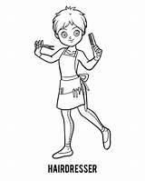 Hairdresser Colorare Coloring Libro Parrucchiere Friseur Parrucchiera Barber Child Disegno Cartoon Pettine Ragazza Illustrazione Illustrations Disegni Vectors Children Malbuch Vettoriale sketch template