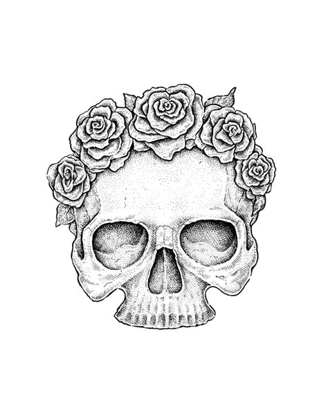 Use Ink Liners Create Skull Roses Drawing