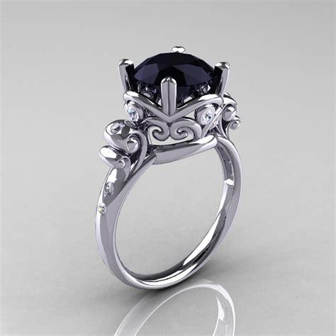 modern vintage 14k white gold 2 5 carat black onyx wedding engagement ring r167 14kwgdbo