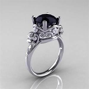 modern vintage 14k white gold 25 carat black onyx wedding With black onyx wedding ring