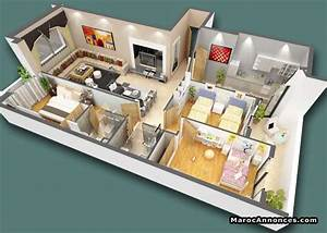 plan maison f4 3d With plan d appartement 3d 1 plan de maison 60m2 3d