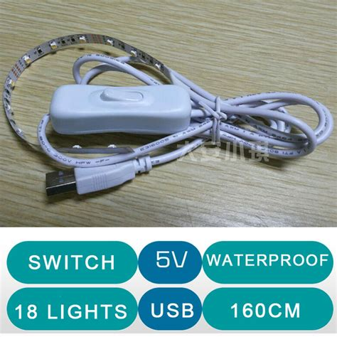 6v portable usb led light bar switch white
