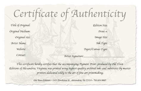 Limited Edition Print Certificate Of Authenticity Template by Photography Certificate Of Authenticity Template