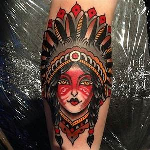 Native american girl in an awesome headdress // tattoo by ...
