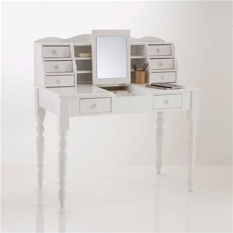 bureau coiffeuse pin massif authentic style coloris blanc