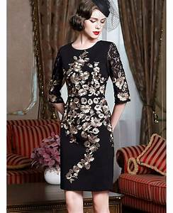 black with gold classy cocktail dress for women over 4050 With dresses for over 50 wedding guests