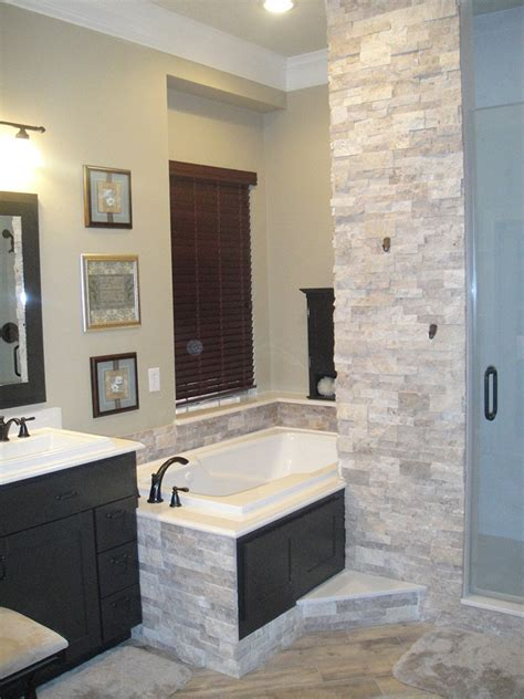 stacked stone master bathroom remodel everhart construction