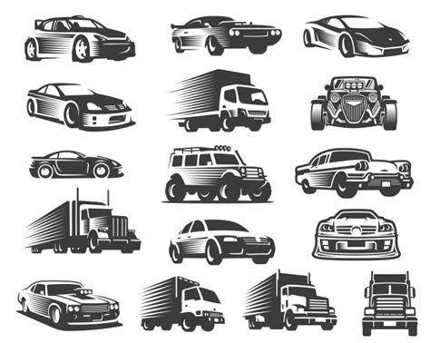 Different Type Of Cars Illustration Set, Car Symbol